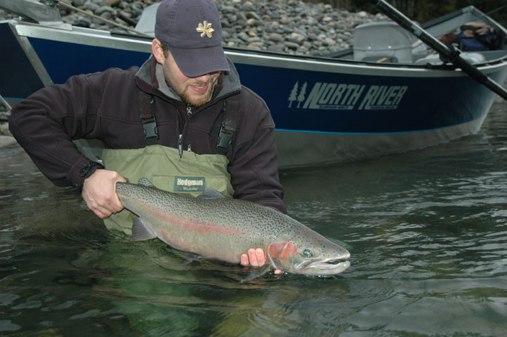 Steve with a winter steelhead caught on a yarnie. Photo by Rob Endsley