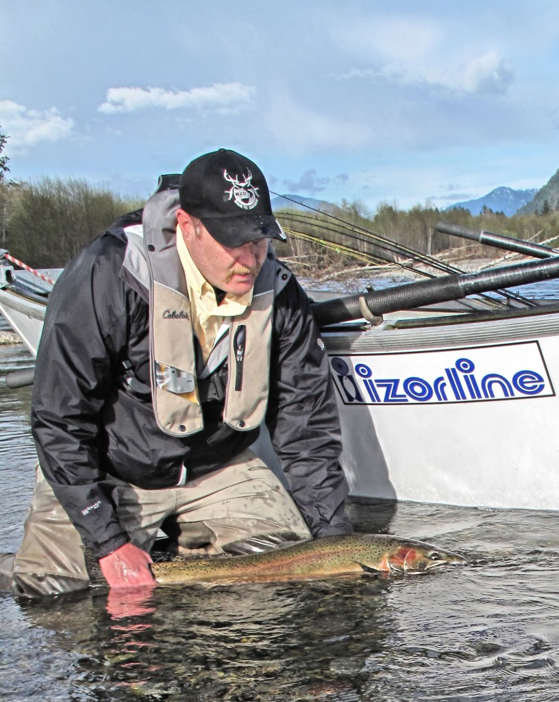 The author about to release a wild steelhead, keeping it in the water at all times-Jason Brooks
