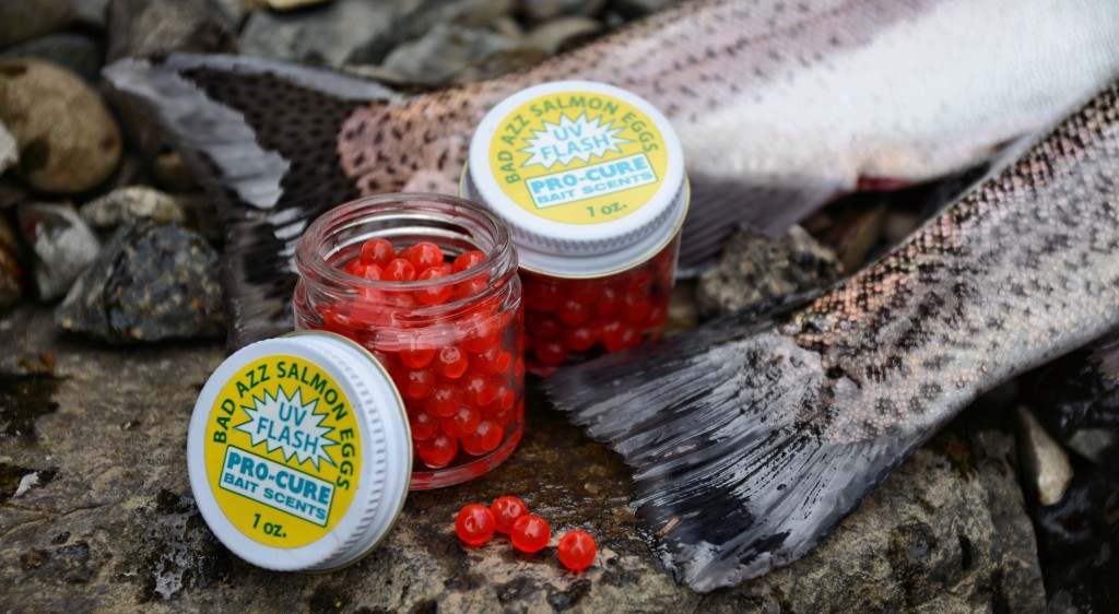 Pro-Cure jars of single salmon eggs with UV are a great trout bait -Jason Brooks