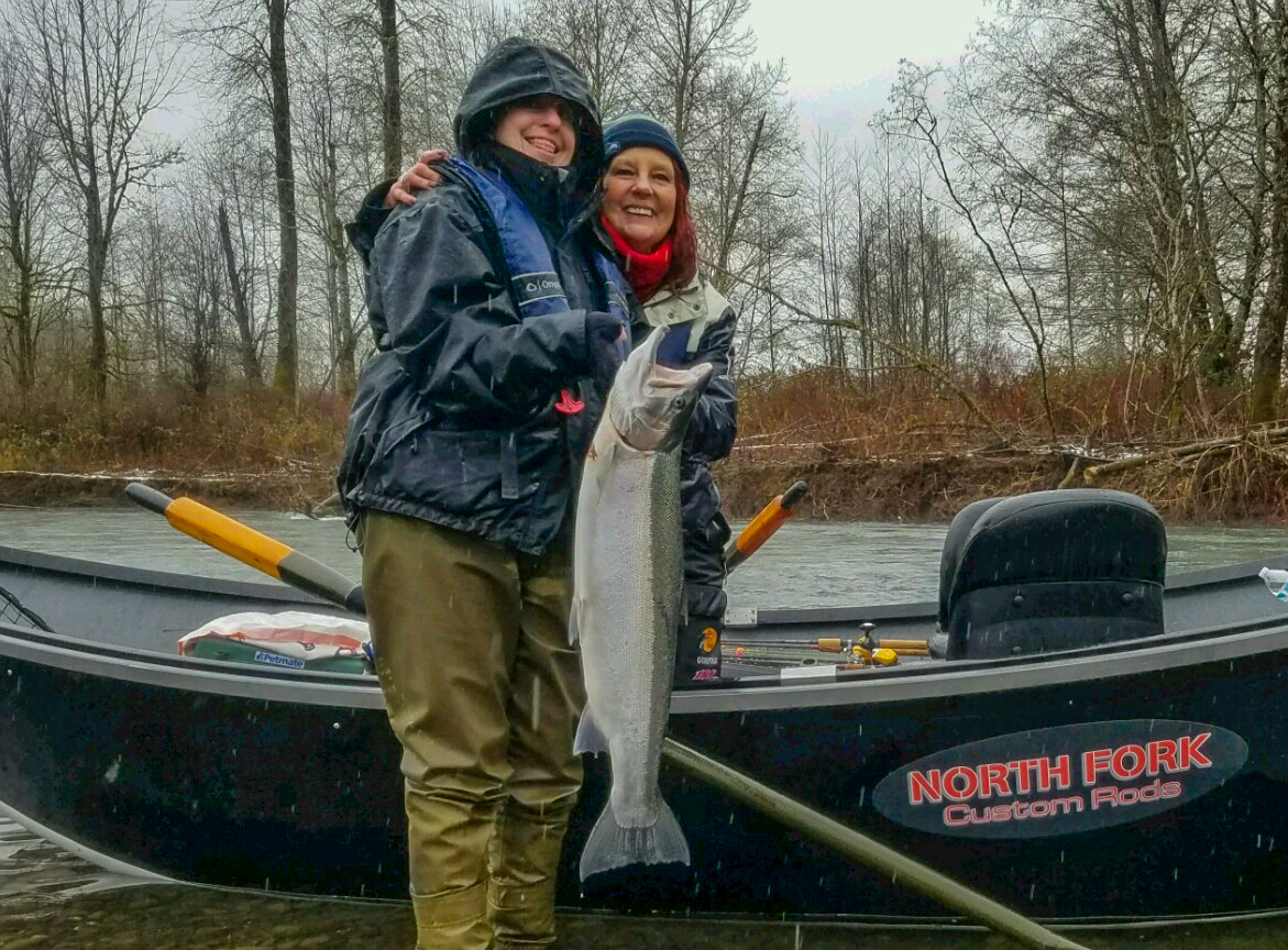 Brenda Schuman and Katie Hovland with an early winter steelhead-Ted Schuman